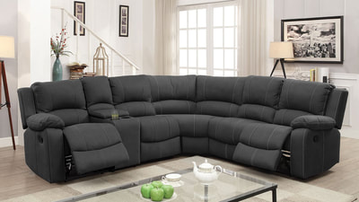 Sectional W/2 Recliners & 2 Drop-Down Tables & Console